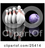 Purple Bowling Ball Rolling Towards Ten White Pins With Red Rings Over A Reflective Black Background