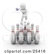 Clipart Illustration Of A Bowling White Character About To Release A Purple Ball To Knock Over Ten Pins At The End Of An Alley On White