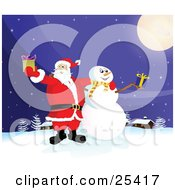 Santa Claus And Frosty The Snowman Standing Under A Full Moon Outside On A Snowy Wintry Night Holding Christmas Presents