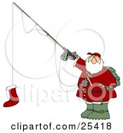 Santa Holding A Red Christmas Stocking On A Fishing Pole Hook