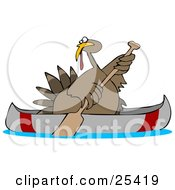 Clipart Illustration Of A Thanksgiving Turkey Bird Escaping From Being Butchered While Paddling Away In A Canoe by Dennis Cox