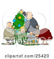 Clipart Illustration Of A White Family With A Father Mother Brother Sister And Baby Decorating A Christmas Tree Together by Dennis Cox