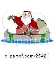 Clipart Illustration Of Santa Paddling A Canoe With A Sack Of Toys Behind Him