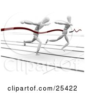 Clipart Illustration Of Two Competitive Racing White Figure Characters Sprinting On A Track At The Finish Line