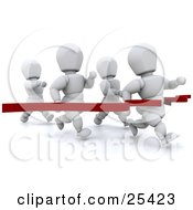 Clipart Illustration Of A White Character Breaking Through A Red Ribbon Making First Place In A Running Race by KJ Pargeter