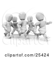 Clipart Illustration Of A Group Of White Character Runners Running Together