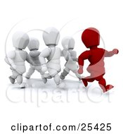 Clipart Illustration Of A Running Red Figure Character Leading A Group Of White People