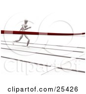 Clipart Illustration Of A Racing White Figure Character Sprinting On A Track Nearing The Finish Line