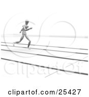 Clipart Illustration Of A Jogging White Figure Character In A Lane On A Track