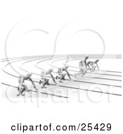Clipart Illustration Of A Line Of White Figure Characters Ready For The Start Of A Race One Cheating And Taking Off Early by KJ Pargeter