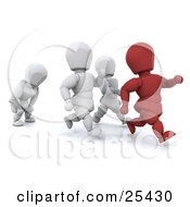 Clipart Illustration Of A Running Red Figure Character Leading In Front Of White People One Falling Behind To Catch Their Breath by KJ Pargeter #COLLC25430-0055