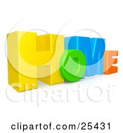 Clipart Illustration Of Colorful Yellow Green Blue And Orange Letters Spelling HOME by 3poD