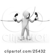 Busy White Person Holding And Talking On Three Corded Telephones