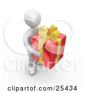 Clipart Illustration Of A White Person Carrying A Big Red And Yellow Christmas Present