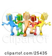 Clipart Illustration Of A Group Of Diverse And Colorful People With Present Heads Dancing At A Party by 3poD