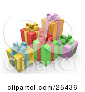Clipart Illustration Of Yellow Red Green Orange And Purple Christmas Presents With Blue Yellow Red Purple And Green Bows And Ribbons by 3poD