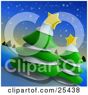 Clipart Illustration Of Two Green Evergreen Trees With Snow And Yellow Stars On A Hill On A Wintry Night