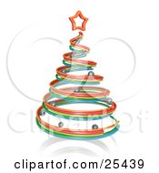 Red Yellow And Blue Spiral Christmas Tree With Silver Ornaments And A Star