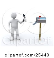 White Person Holding A Corded Phone From Inside A Mailbox Symbolizing Fast Service