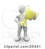 Clipart Illustration Of A Successful White Person Holding A Golden Trophy After Winning The Championships by 3poD