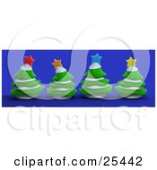 Clipart Illustration Of Four Evergreen Trees With Snow Topped With Colorful Christmas Stars Over Blue by 3poD