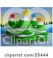 Clipart Illustration Of Four Evergreen Trees Topped With Colorful Christmas Stars And Snow On A Wintry Hill At Dusk by 3poD