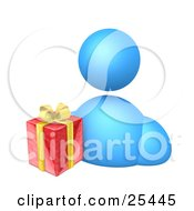 Clipart Illustration Of A Blue Avatar Person With A Christmas Gift Wrapped In Red Paper With Yellow Ribbons And Bows