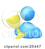 Clipart Illustration Of A Blue Avatar Person With A Golden Winner Trophy Cup