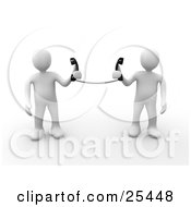 Clipart Illustration Of A Two White People Holding Telephone Receivers Attached To The Same Cord Symbolizing Long Distance Local Calls And Customer Service by 3poD #COLLC25448-0033