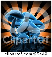Clipart Illustration Of A Group Of Blue Glowing Mushrooms On A Reflective Black Surface With A Bursting Orange And Black Background