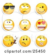 Clipart Illustration Of A Group Of Cool Grouchy Winking Smiling Surprised Infatuated Sleeping And Silenced Yellow Emoticon Faces