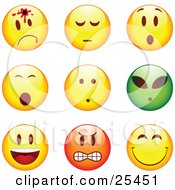 Clipart Illustration Of A Group Of Shot Shocked Alien Happy Mad And Grinning Yellow Green And Red Emoticon Faces by beboy