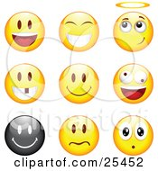 Clipart Illustration Of A Group Of Happy Angelic Goofy And Upset Black And Yellow Emoticon Faces