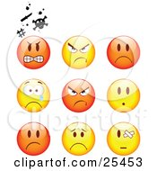 Clipart Illustration Of A Group Of Mad Angry Bully Crying And Bandaged Red And Yellow Emoticon Faces