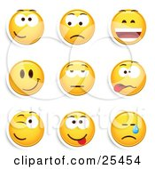 Clipart Illustration Of A Group Of Friendly Upset Laughing Happy Bored Goofy Winking And Crying Yellow Emoticon Faces