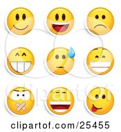 Clipart Illustration Of A Group Of Smiling Laughing Sad Grinning Silenced And Goofy Yellow Emoticon Faces