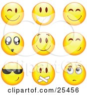 Clipart Illustration Of A Group Of Winking Smiling Happy Awed Cool Silenced And Nervous Yellow Emoticon Faces