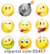 Clipart Illustration Of A Group Of Happy Bomb Goofy Teasing Sick And Winking Black Green And Yellow Emoticon Faces
