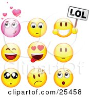 Clipart Illustration Of A Group Of Infatuated Laughing Nervous Hurt And Surprised Pink And Yellow Emoticon Faces by beboy #COLLC25458-0058