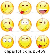 Clipart Illustration Of A Group Of Smiling Teasing Laughing Grinning And Winking Yellow Emoticon Faces