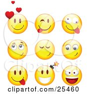 Clipart Illustration Of A Group Of Infatuated Teasing Goofy And Bomb Yellow Emoticon Faces