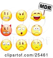 Clipart Illustration Of A Group Of Mad Mean Devil Scared Crying And Upset Red And Yellow Emoticon Faces