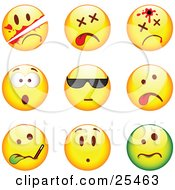 Clipart Illustration Of A Group Of Sliced Dead Shot Shocked Cool Sick And Upset Green And Yellow Emoticon Faces by beboy