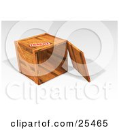 Clipart Illustration Of A Heavy Duty Wooden Shipping Crate On Its Side With The Top Off Marked As Fragile by KJ Pargeter