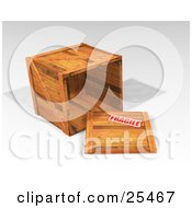 Clipart Illustration Of A Heavy Duty Wooden Shipping Crate On Its Side With The Top Off Stamped As Fragile by KJ Pargeter