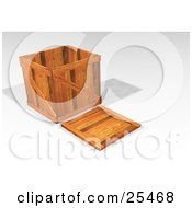 Clipart Illustration Of A Heavy Duty Wooden Shipping Crate With The Lid On The Ground by KJ Pargeter