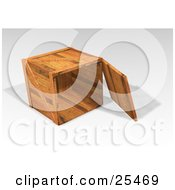 Clipart Illustration Of A Heavy Duty Wooden Shipping Crate With The Top Off Resting On Its Side by KJ Pargeter