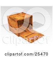 Clipart Illustration Of A Fragile Stamped Heavy Duty Wooden Shipping Crate With The Top Off Resting On Its Side by KJ Pargeter