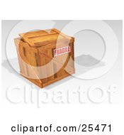 Clipart Illustration Of A Fragile Stamped Heavy Duty Wooden Shipping Crate With The Lid Resting On Top by KJ Pargeter