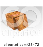 Clipart Illustration Of A Heavy Duty Fragile Marked Wood Shipping Crate With The Lid Resting On Top by KJ Pargeter